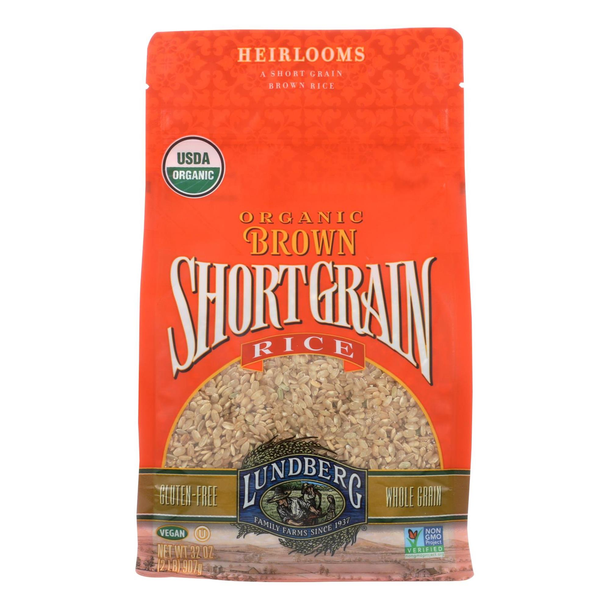Lundberg Family Farms, Rice Brown Short Grain Organic, 32 Ounce