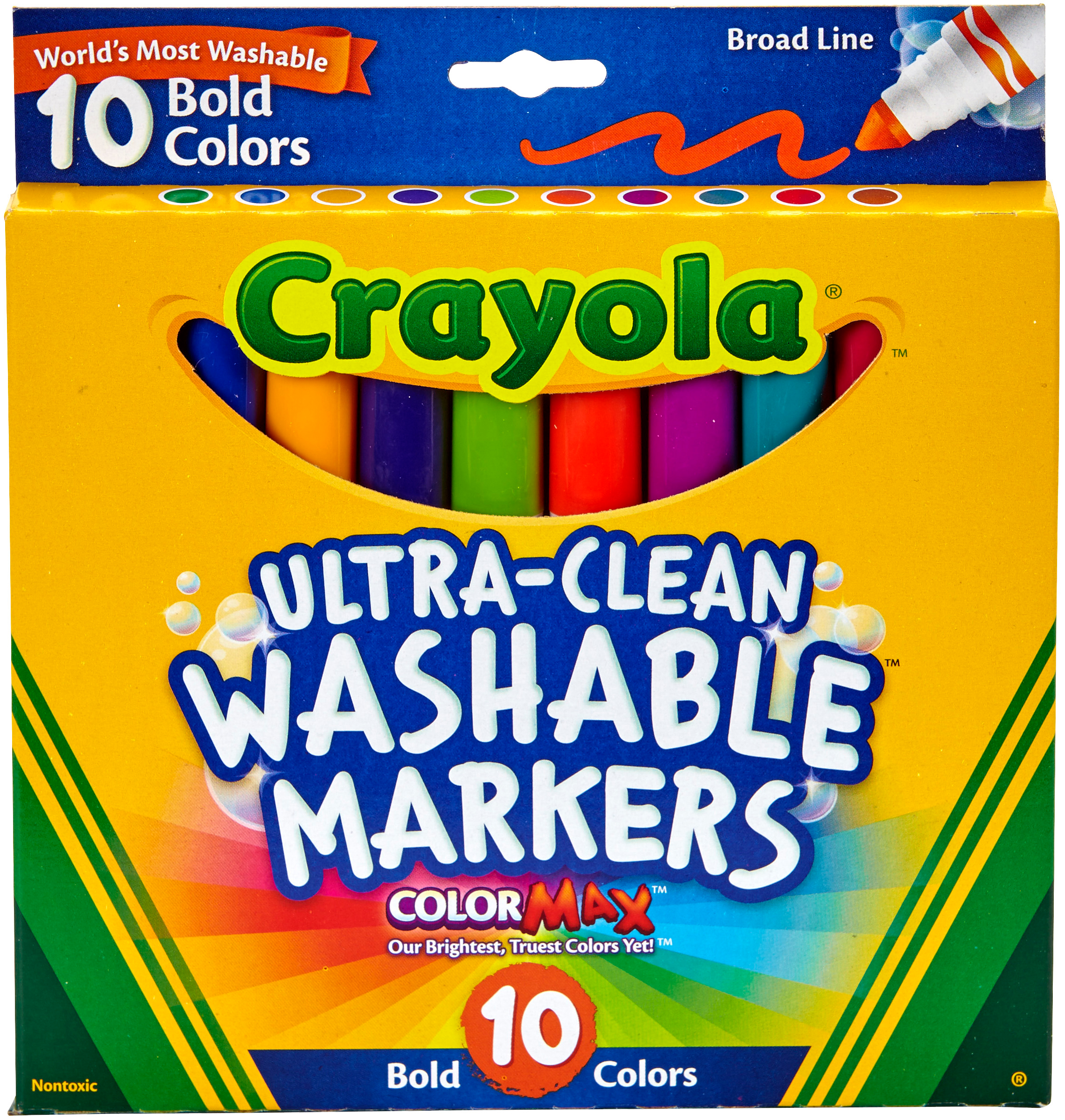 Bold Colors Ultra-Clean Washable Markers Broad Box of 10