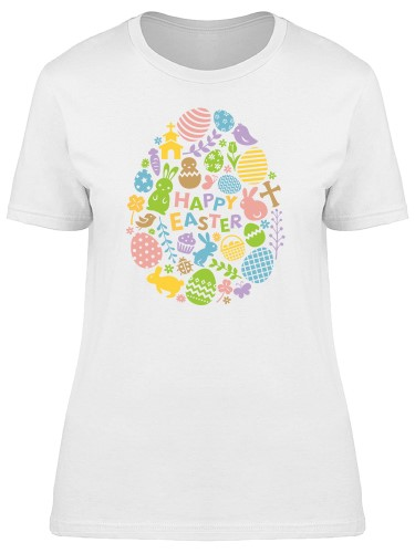 Happy Easter Cute Floral Doodles Tee Women's -Image by Shutterstock