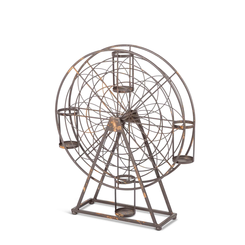 Gerson 94471EC 26 in. Metal Turning Ferris Wheel with 4 Wine Bottle Holders - Grey