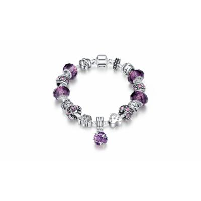 Dangling Crystal Heart Charm Bracelet with Swarovski Elements - Three Options White Purple Crystal Crystal