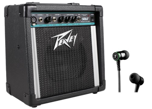 Peavey Solo Portable 2-Channel Battery Powered PA Sound System+Mackie Earbuds