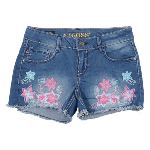 Girls (7-16) Vigoss Flowers Fringe Hem Stretch Denim Shorts
