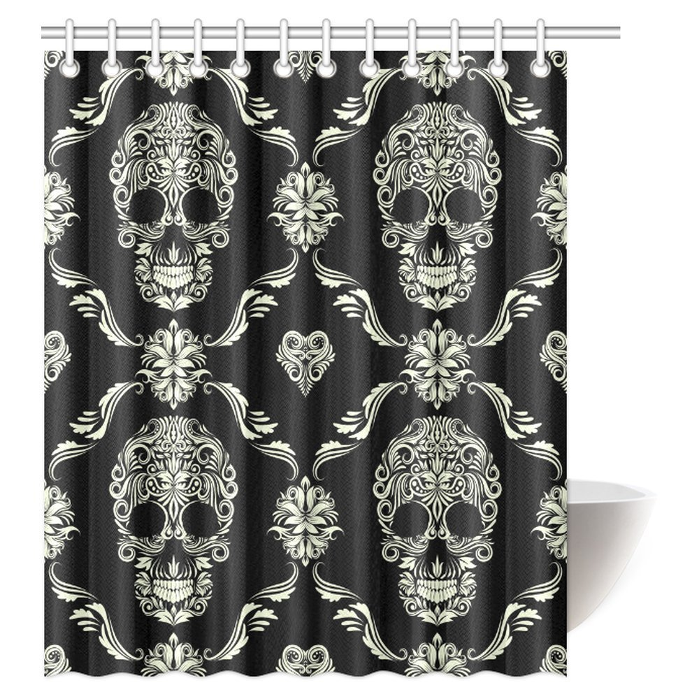 MYPOP Gothic Shower Curtain, Ornament with Skull Goth Skeleton Floral Design in Baroque Style Fabric Bathroom Shower Curtain, 60 X 72 Inches
