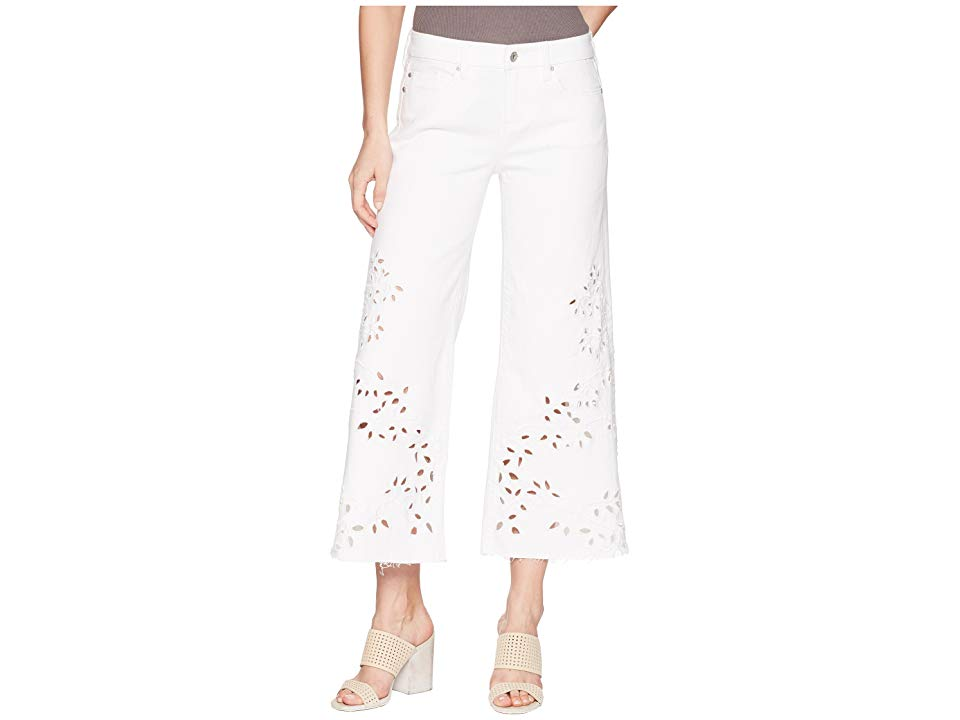 Liverpool LVPL by Liverpool Callie Cropped Wide Leg with Cut Out Eyelet Embroidery in Comfort Stretch Denim in Bright White (Bright White) Women's ...