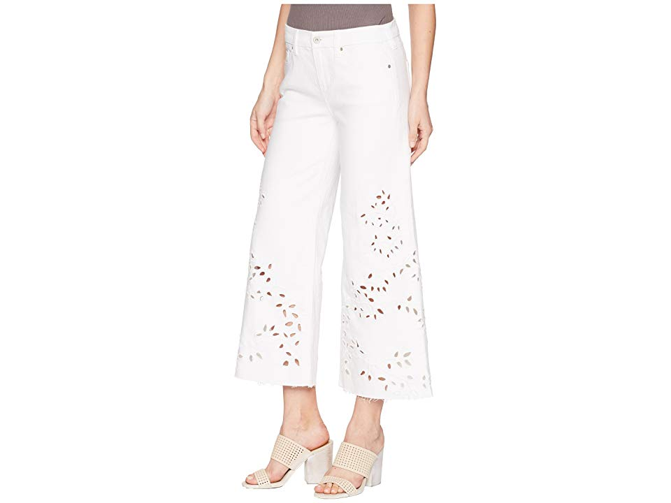 Liverpool LVPL by Liverpool Callie Cropped Wide Leg with Cut Out Eyelet Embroidery in Comfort Stretch Denim in Bright White (Bright White) Women's ... thumbnail 2