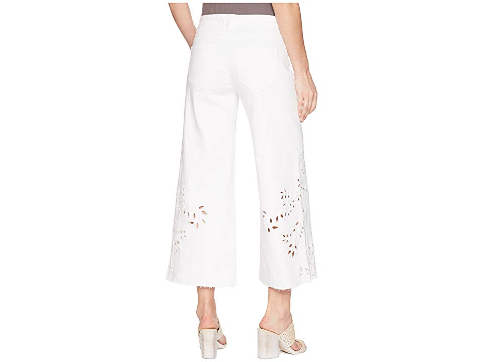Liverpool LVPL by Liverpool Callie Cropped Wide Leg with Cut Out Eyelet Embroidery in Comfort Stretch Denim in Bright White (Bright White) Women's ... thumbnail 3