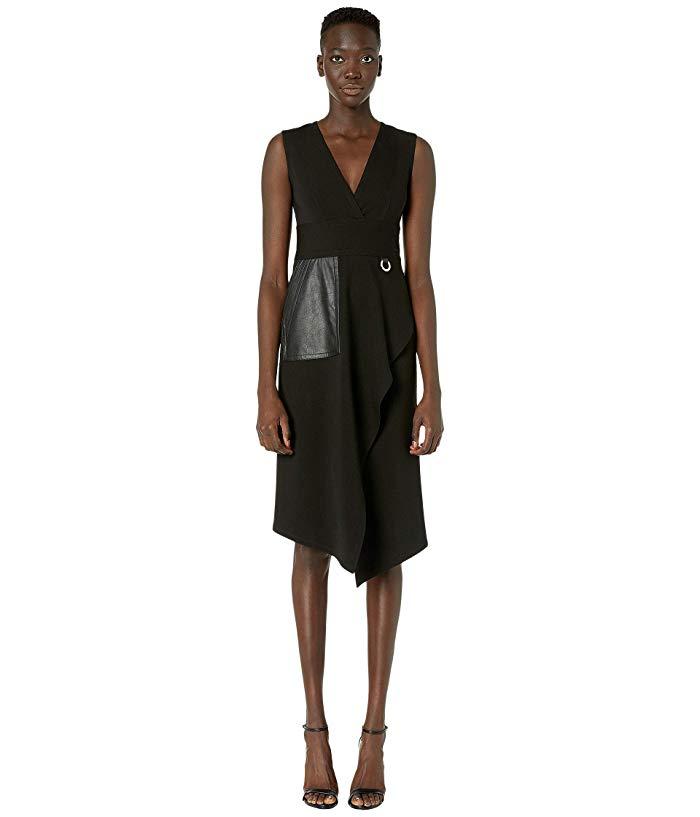 Women's Yigal Azrouel Leather Pocket Mechanical Stretch MIDI Dress, Size 12 - Black