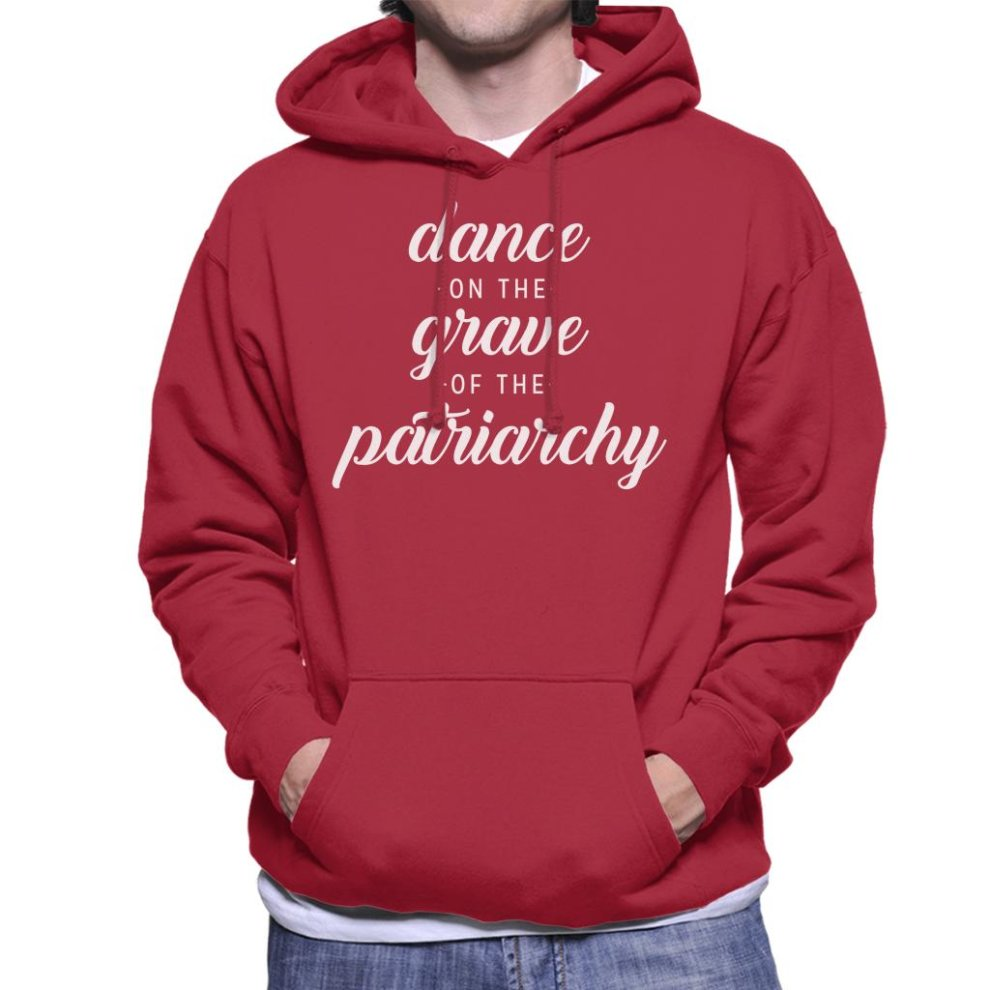 (XX-Large, Cherry Red) Anti Men Dance of the Grave of the Patriarchy Men's Hooded Sweatshirt