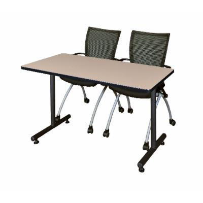 48 X 30 Kobe Training Table- Beige and 2 Apprentice Nesting Chairs