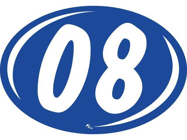 Oval 2-Digit Year Sticker - White/Blue -
