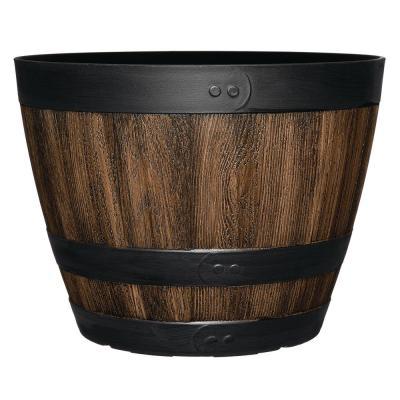 CLASSIC HOME and GARDEN Napa 11.3 in. Kentucky Walnut Wine Barrel Fits 10 in. Drop N Decorate thumbnail 2