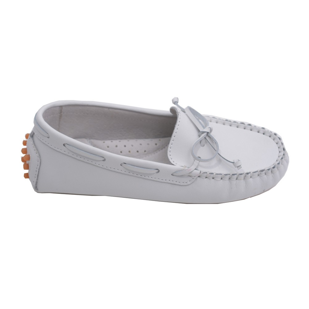 Toddler Girls White Bow Leather Moccasin 7-10 Toddler