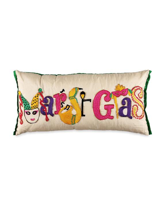 Purva Designs Mardi Gras Oblong Decorative Pillow |  Polyester thumbnail 2