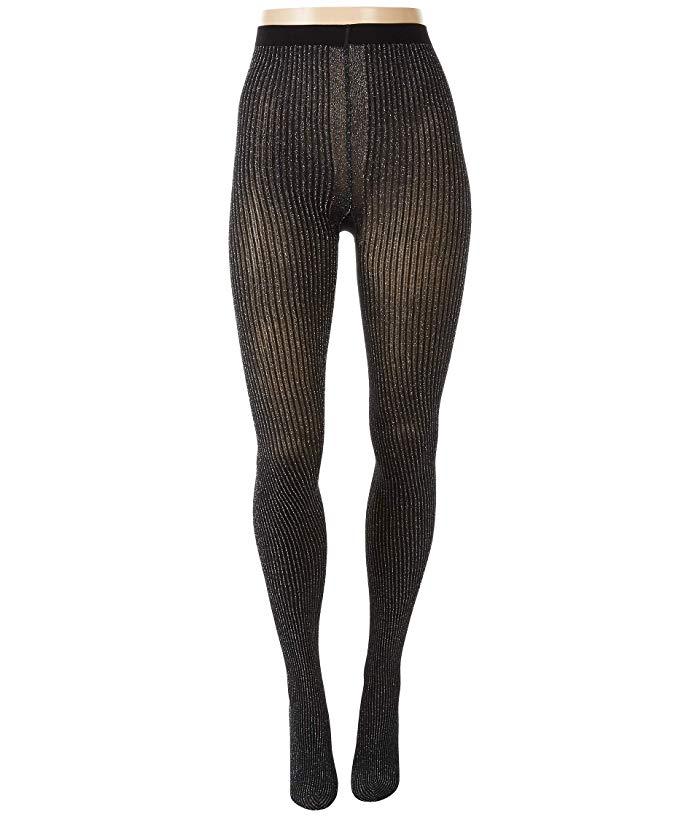 Wolford Dora Ribbed Metallic Tights - Black/Silv - Size XL