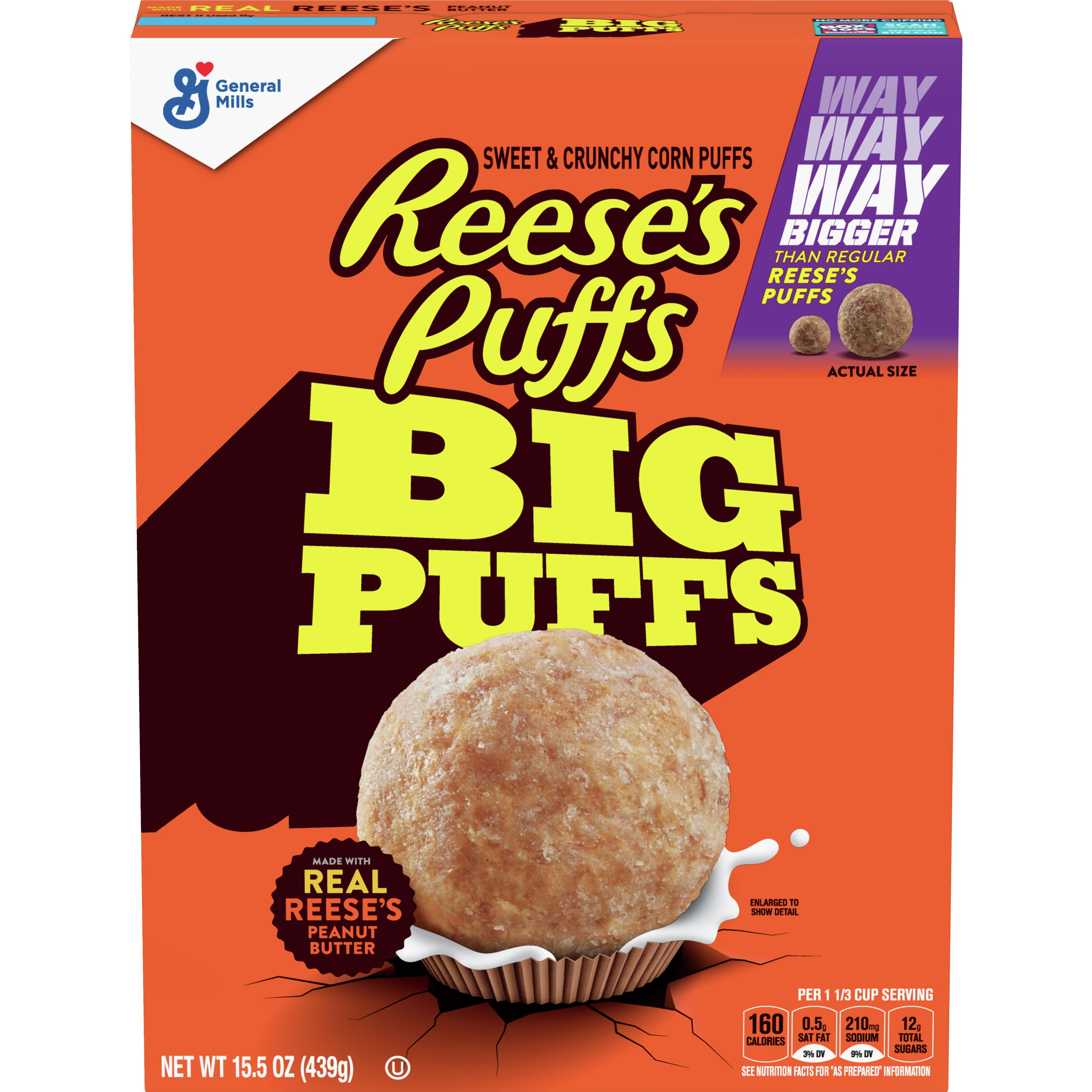 Reeses Puffs Corn Puffs, Sweet & Crunchy, Big Puffs