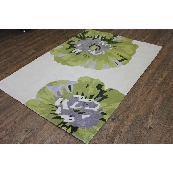 Beige Green White Silver Grey Color Area Rug - 5' X 7' (5x7)