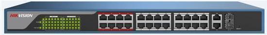 Hikvision DS-3E1326P-E - Switch - Verwaltet - 24 X 10/100 (PoE) + 2 X Kombi-Gigabit-SFP - Desktop - PoE (370 W)