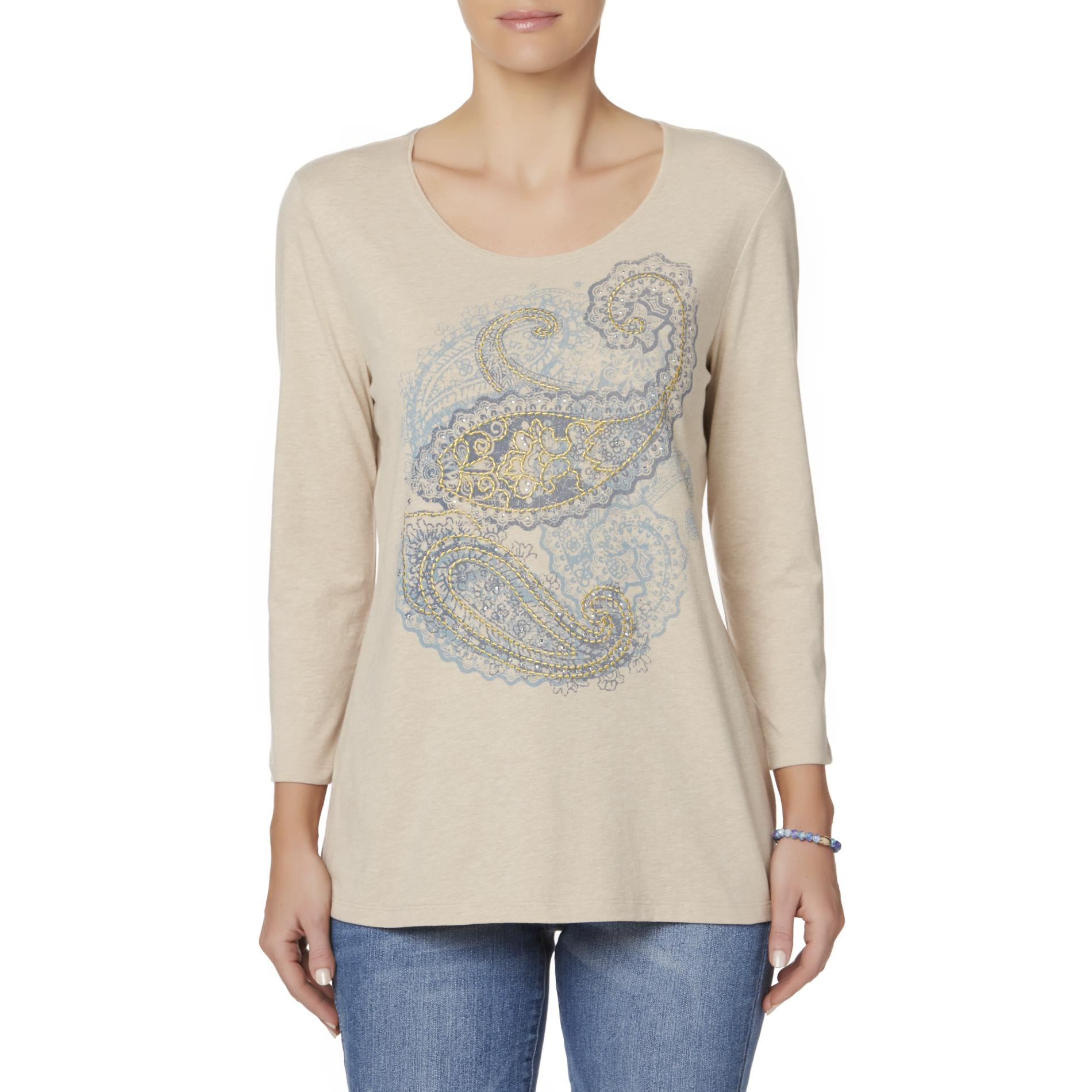 Laura Scott Women's Embellished Scoop Neck Top - Paisley, Size: Medium, Wine Tasting thumbnail 1