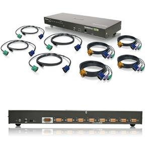 8 Port VGA KVM Switch with USB and PS/2 Cables (taa) Includes 4 PS/2 Cables And