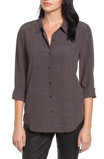 Women's Eileen Fisher Windowpane Classic Collar Shirt, Size X-Large - Brown