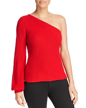 Aqua Womens One Shoulder Casual Pullover Sweater