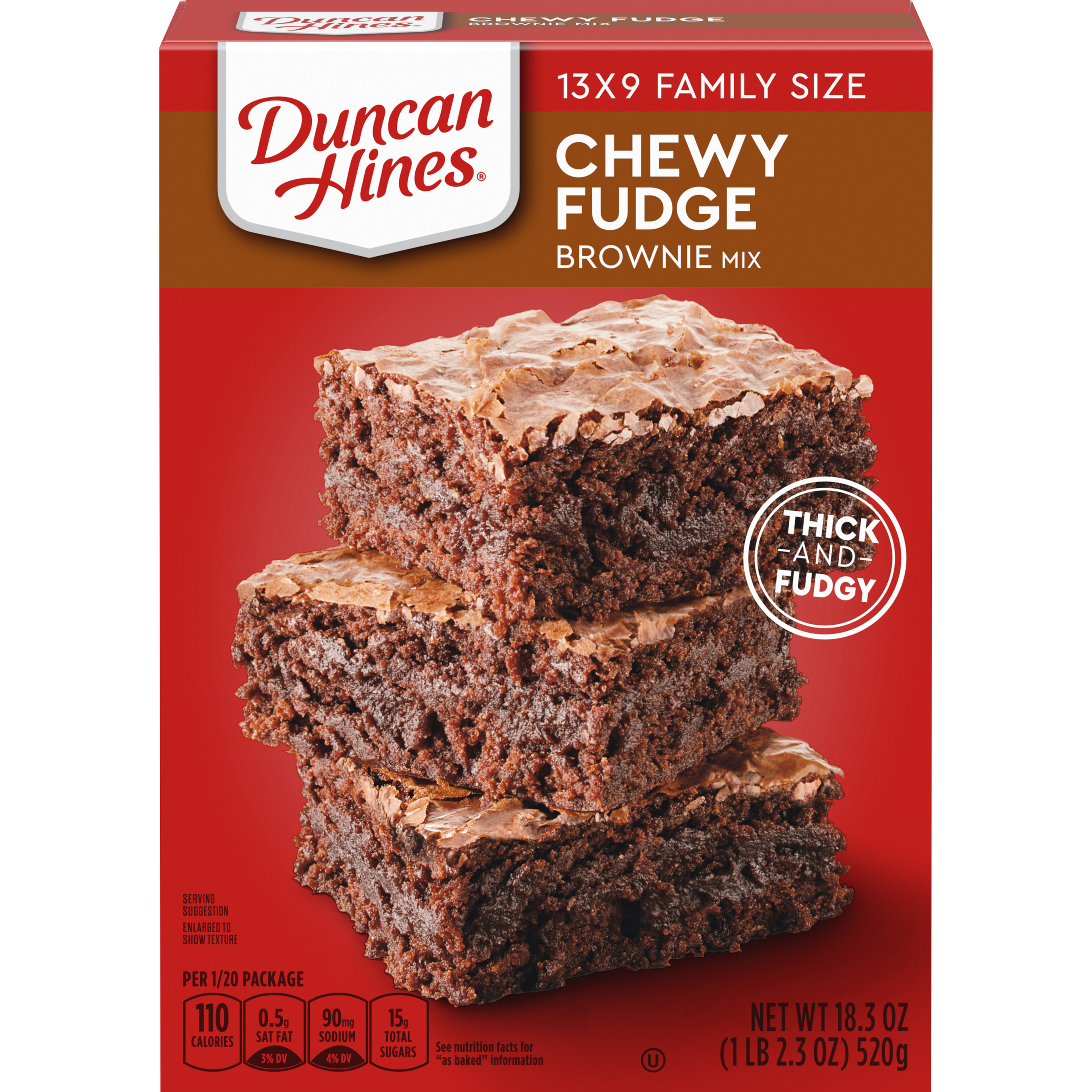 Duncan Hines Brownie Mix Chewy Fudge Brownies Family Size Box - 18.3 Oz