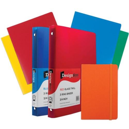 JAM Paper(r) Back to School Assortments, Orange Classwork Pack, 4 Heavy Duty Folders, 2 .75 Binders, 1 Journal, 7/pk (383CWOASSRT)