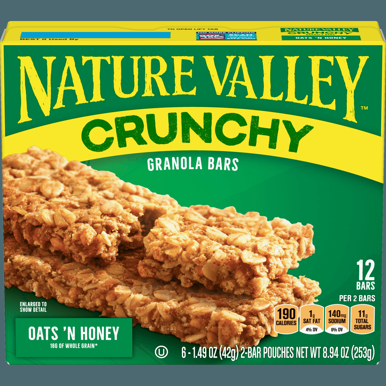 Nature Valley, Crunchy Granola Bars, Oats N Honey, Six 1.5 Ounce 2-bar Pouches Per Box (2 Pack)