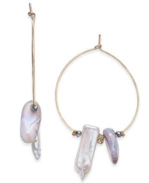 Paul & Pitu Naturally Gold-Tone Stone & Bead Wire Hoop Earrings