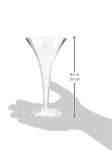 Fineline Settings 6-Piece Wavetrends Square Martini Glass, 8-Ounce, Clear