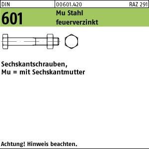1 Pack Sechskantschrauben DIN 601 Mu St. M 16 x 60 feuerverzinkt tZn (Inhalt: 50 Stück) vo.