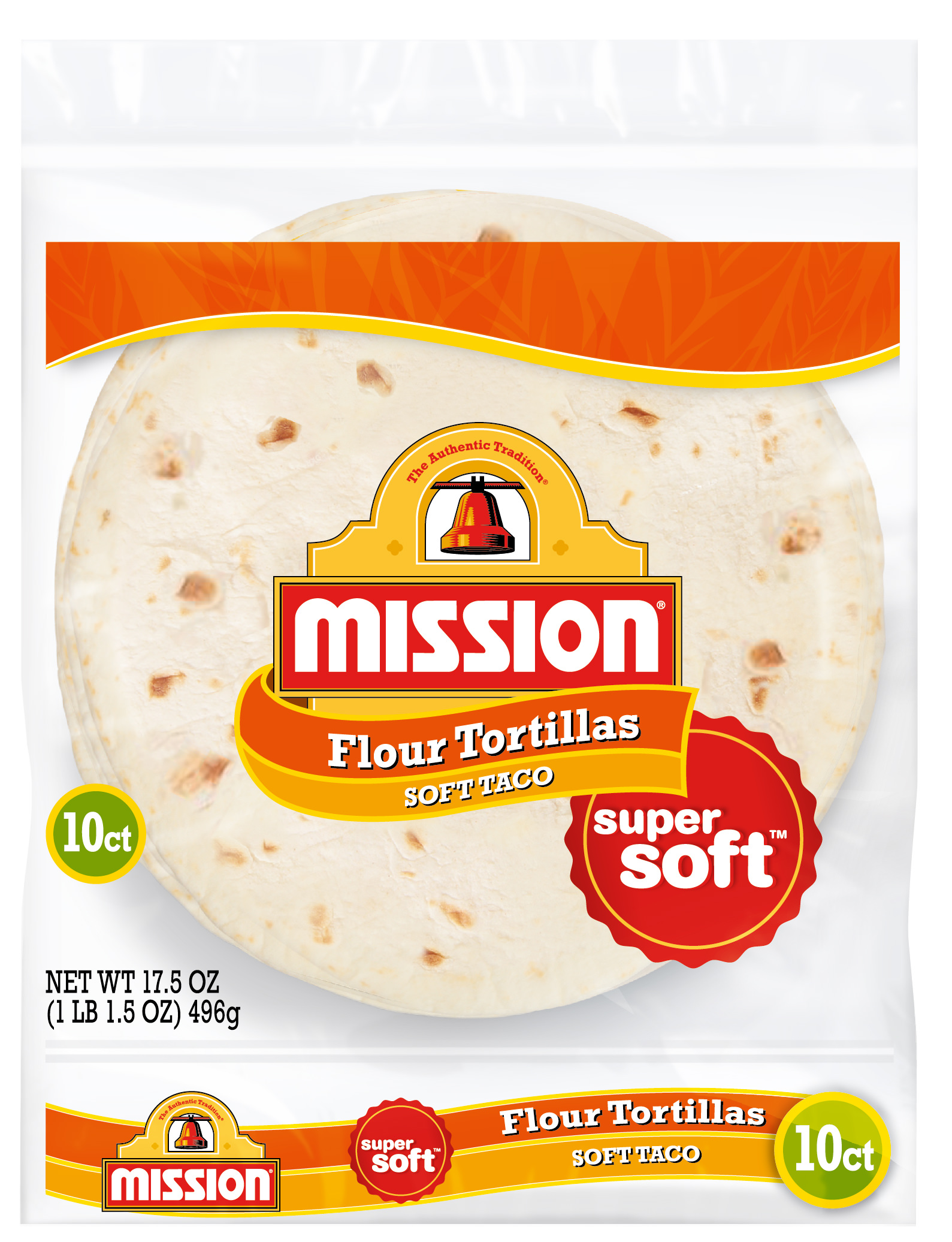 Mission Soft Taco Flour Tortillas, Trans Fat Free, Authentic, Small Size, 10 Count