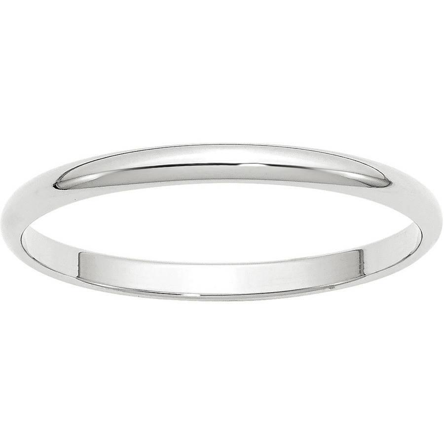 10k White Gold 2mm Ltw Half Round Band Size 11.5 Ring