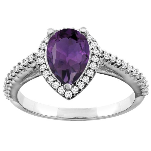 10K White Gold Natural Amethyst Ring Pear 9x7mm Diamond Accents, sizes 5 - 10