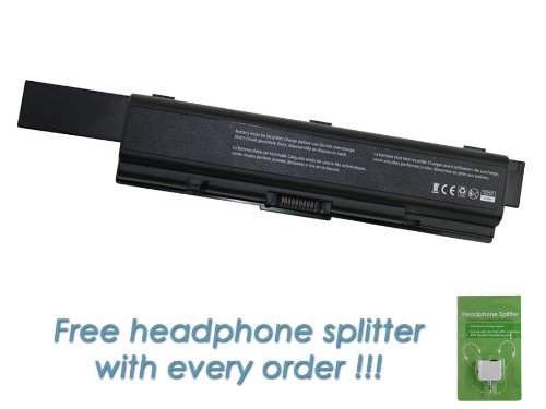 Toshiba Satellite PSLV6U-08L00S 12 Cell, 8800mAh Replacement Laptop Battery with FREE Headphone Splitter