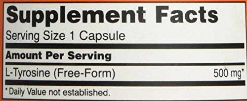 NOW L-Tyrosine 500 Mg - 120 Capsules thumbnail 4