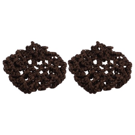 Girl Dance Skating Stretchy Hair Ties Bands Snood Bun Cover Bun Brown 2 Pcs