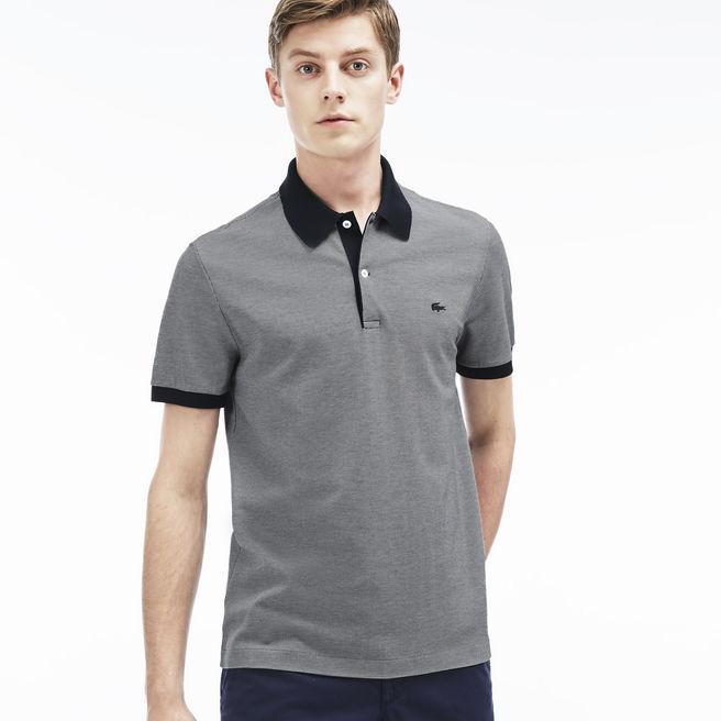 Lacoste Men's Gingham Mini Jacquard Piqué Polo Shirt - Navy Blue