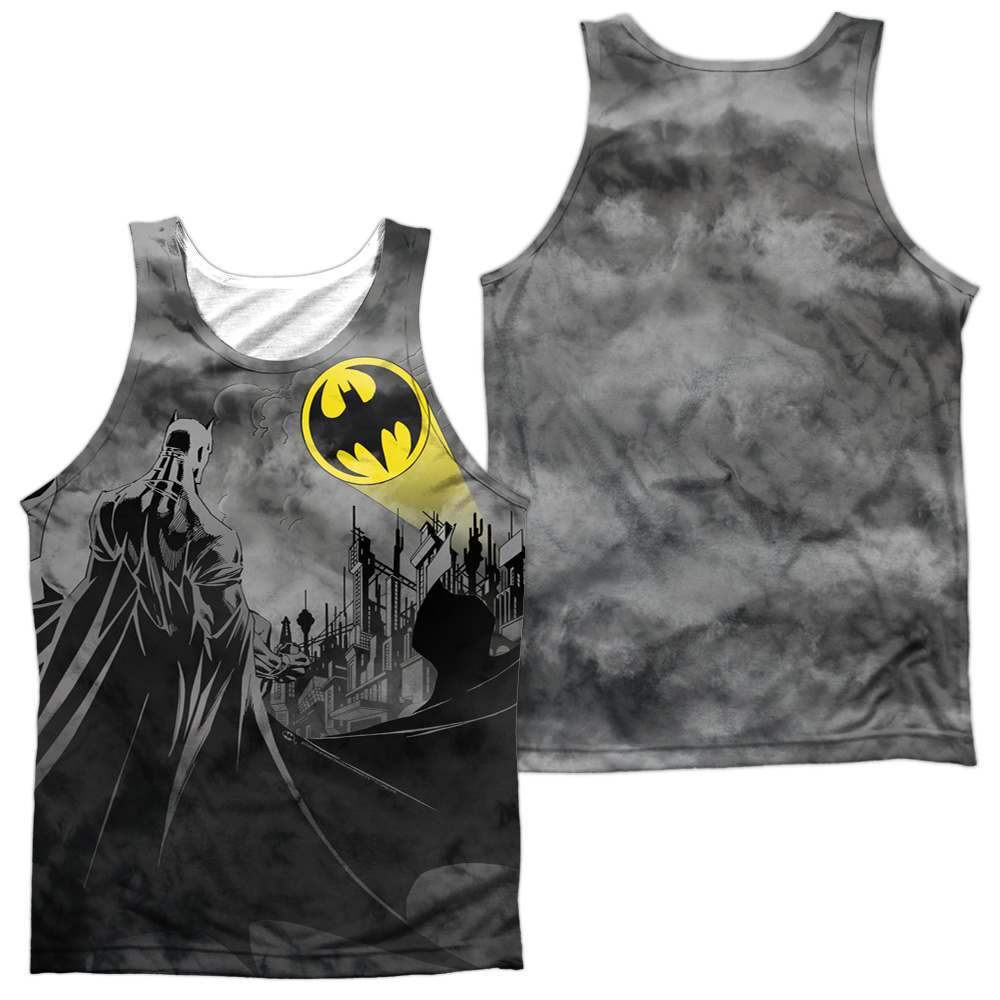 BM2302FB-TKPP-3 Batman & Heed the Call-Adult 100 Percent Poly Tank Top T-Shirt, White - Large thumbnail 1
