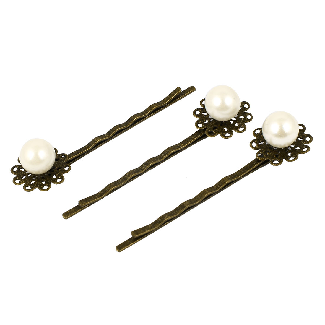 Fashion Jewelry Vintage Style Imitation Pearl Flower Hair Clip Bobby Pin 3 Pcs