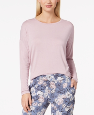 Alfani Knit Loose Pajama Top, Created for Macy's - Pink S thumbnail 1