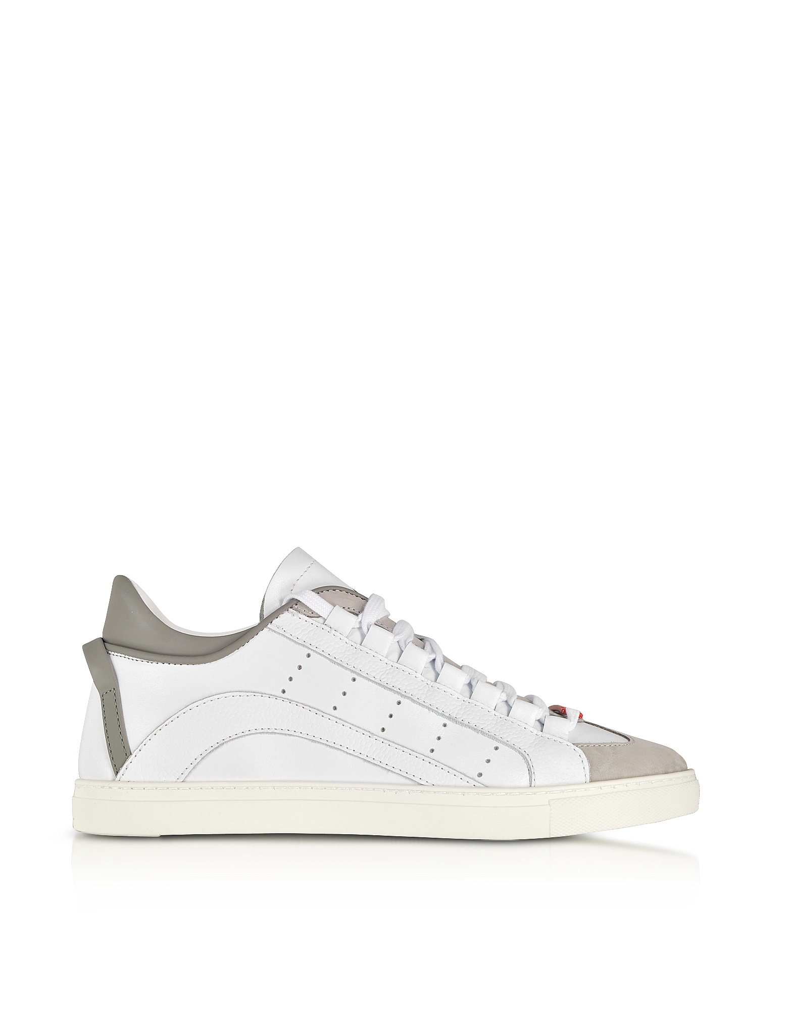 DSquared2 Designer Shoes, White and Gray Leather Low Top Men's Sneakers