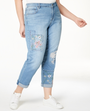 Style & Co Plus Size Patched Embroidered Boyfriend Jeans, Created for Macy's - Blue 14W