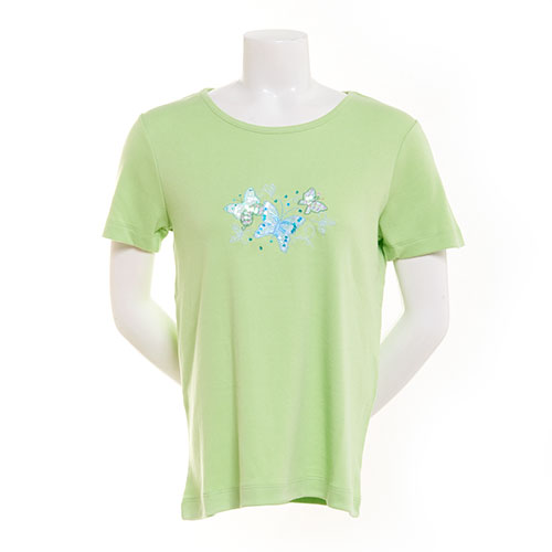 Plus Size Bonnie Evans Floral & Butterfly Embroidered Tee Nile Green