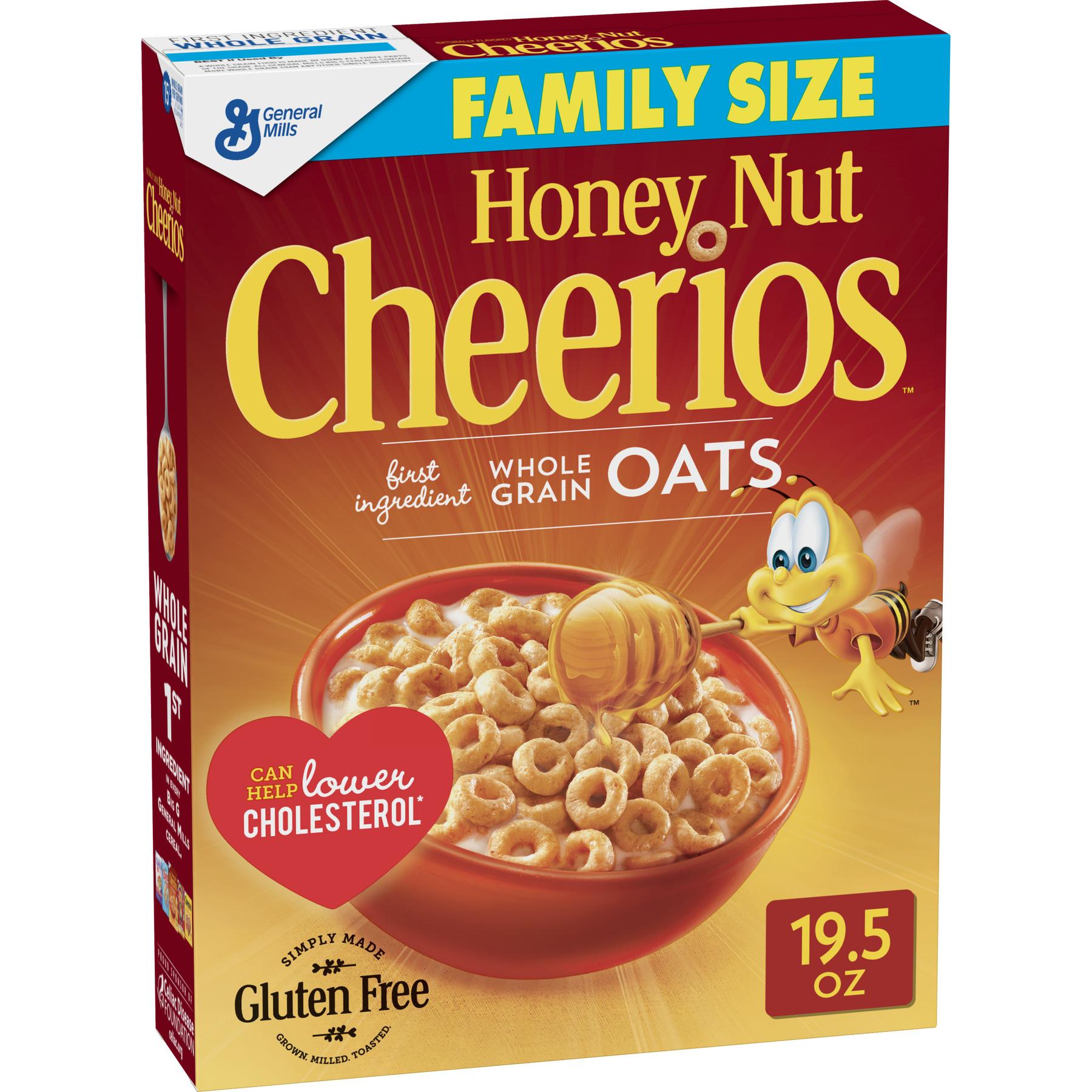 General Mills, Honey Nut Cheerios Gluten Free Breakfast Cereal, Family Size 19.5 Oz